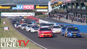 The NSW Production Touring Car Championship entrants take off from the start line for the Bathurst endurance race.